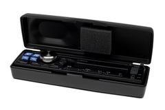 Modern car radio head. Head of a car radio system in a plastic box stock photos
