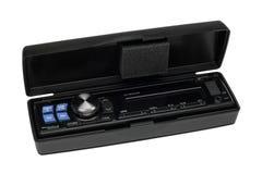 Modern car radio head. Head of a car radio system in a plastic box royalty free stock image