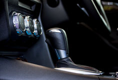Modern car's gear shift 2. Modern car's automatic gear shift with leather cover stock photo