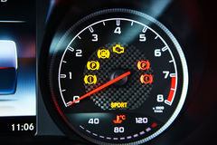 Modern car speedometer. Close up shot of the dashboard Stock Images