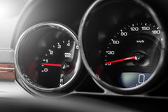 Modern car speedometer and odometer Royalty Free Stock Images