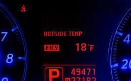 Modern car speedometer showing very cold temperature Royalty Free Stock Image