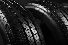Modern car tires, closeup. Modern car tires, close up Royalty Free Stock Images