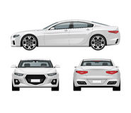 Modern car vector template. White business sedan isolated on white background Royalty Free Stock Photography