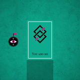 Modern card template with mystic symbols and wacky colors Royalty Free Stock Photo