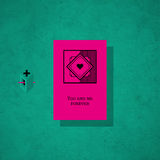 Modern card template with mystic symbols and wacky colors Royalty Free Stock Image