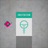 Modern card template with mystic symbols and wacky colors Royalty Free Stock Photography