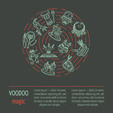 Modern card with voodoo magic vector line icons. Royalty Free Stock Photo
