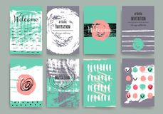 Modern cards design template with grungy rough Royalty Free Stock Photos
