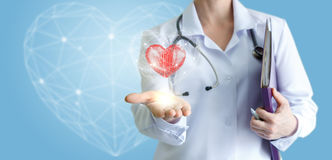 Modern care and support of the heart. stock photography