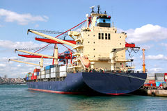 Modern cargo ship royalty free stock photography