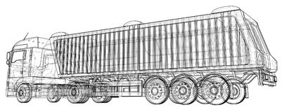 Modern Cargo Truck isolated on white background. Eurotrucks vehicle. Tracing illustration of 3d. EPS 10 vector format royalty free illustration