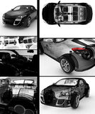 Modern cars collage Stock Photos