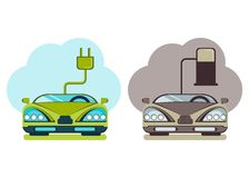 Modern cars green energy and pollution. Image of a green energy and pollute cars. Cartoon flat vector illustration. Objects  on a background Royalty Free Stock Photo