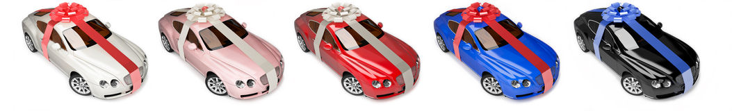 Modern cars, luxurious gifts Stock Images