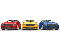 Modern cars - primary colors Royalty Free Stock Photo