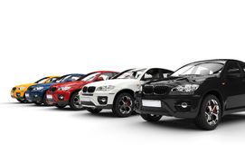Modern cars in white showroom Stock Image