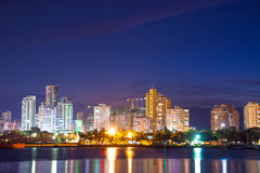 Modern Cartagena at Night. Nighttime view of the modern part of Cartagena, Colombia Stock Photography