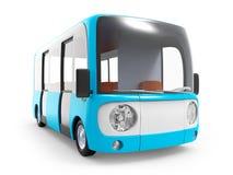 Modern cartoon bus. Modern small blue cartoon bus. 3d illustration Stock Photo