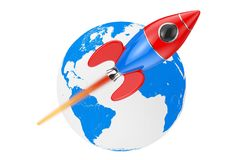 Modern Cartoon Rocket Moving Around the Earth Globe. 3d Renderin Royalty Free Stock Image
