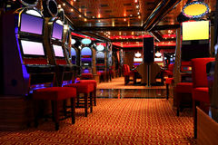 Modern casino hall with game machines Royalty Free Stock Image