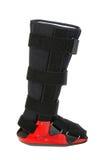 Modern cast for a broken leg. Modern orthopedic cast for a broken leg isolated on white background. I?ve got more medical stuff royalty free stock images