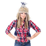 Modern casual woman wearing fashionable winter hat Royalty Free Stock Photo