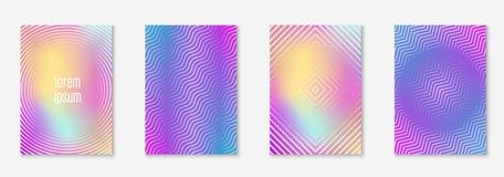 Modern catalog with minimalist geometric line and trendy shapes. Modern catalog. Holographic. Futuristic folder, invitation, wallpaper, placard mockup. Modern stock illustration