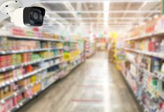 Modern CCTV cameras on wall-mounted in super market to prevent theft and safety In doing customers service users