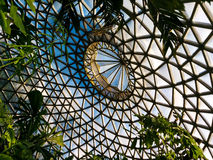Modern ceiling built up from triangle shaped glass elements. Ceiling of the Tropical Display Dome in the Brisbane Botanic Gardens Mt Coot-tha stock photos