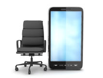 Modern cell phone and office chair Royalty Free Stock Photography