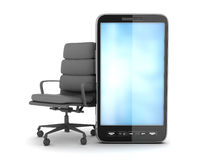 Modern cell phone and office chair Royalty Free Stock Images