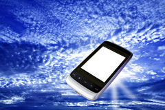 Modern cell phone with white screen Royalty Free Stock Photo