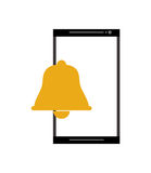 Modern cellphone and bell notification icon. Flat design modern cellphone and  bell notification icon vector illustration Royalty Free Stock Photography