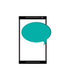 Modern cellphone and conversation bubble icon Royalty Free Stock Photo
