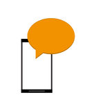 Modern cellphone and conversation bubble icon Stock Photo