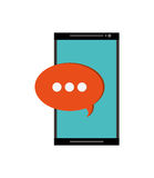 Modern cellphone and conversation bubble icon Royalty Free Stock Images