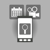 Modern cellphone and icon image. Modern cellphone and magnifying glass film projector with calendar icon image  illustration design Royalty Free Stock Images