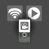 Modern cellphone and icon image. Modern cellphone with wifi signal play video and film projector icon image  illustration design Stock Image