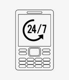 Modern cellphone with 24 7 service icon image. Illustration Royalty Free Stock Image