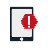 Modern cellphone and warning sign icon Stock Photos