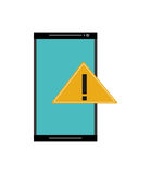 Modern cellphone and warning sign icon Stock Image