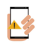 Modern cellphone and warning sign icon Royalty Free Stock Image