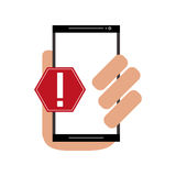 Modern cellphone and warning sign icon Royalty Free Stock Photo