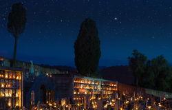 Modern cemetery surrealistic starry mantle Stock Images