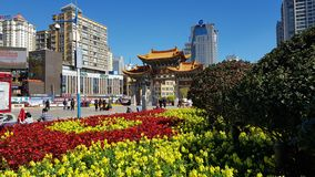 The modern center of the city of Kunming, Yunnan, China stock photography