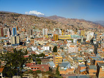 Modern centre of La Paz and Illimani Mountain Royalty Free Stock Image