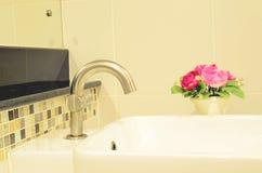 Modern ceramic white wash basin Stock Photo