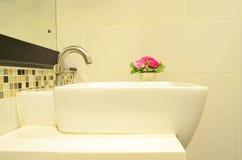 Modern ceramic white wash basin Royalty Free Stock Photo