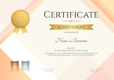 Modern certificate of achievement template with modern colorful. Pattern in vector illustration Stock Images